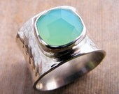 Wide Sterling Silver Ring Band with a Faceted Sea Foam Aqua Chalcedony Gemstone, Chunky Big Ring