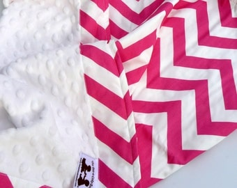 Baby Blanket in Candy Pink Chevron and Plush White Minky Dots