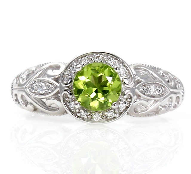 14K Vintage Peridot Engagement Ring Diamond Halo Art By