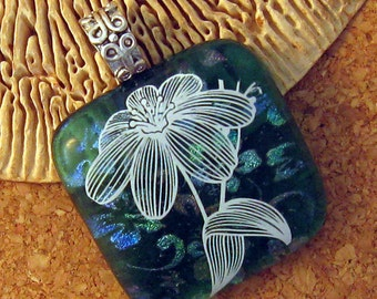 Decal Dichroic Pendant - Fused Glass Flower Pendant -  Glass Pendant - Dichroic Necklace - Fused Glass Necklace