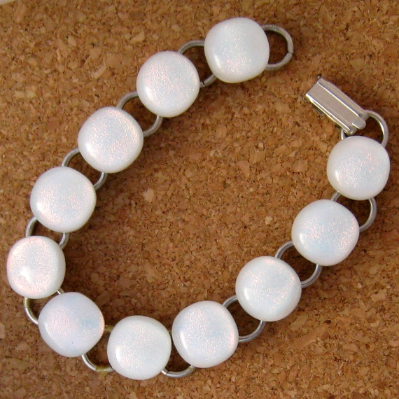 White Dichroic Bracelet,  Fused Glass Bracelet, Fused Glass Jewelry