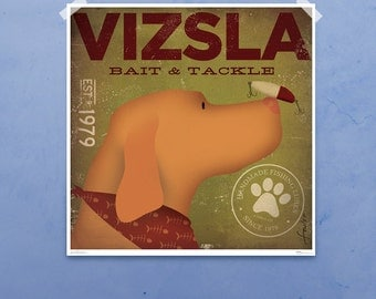 VIZSLA bait and tackle fishing company original illustration giclee archival signed artist's print by stephen fowler