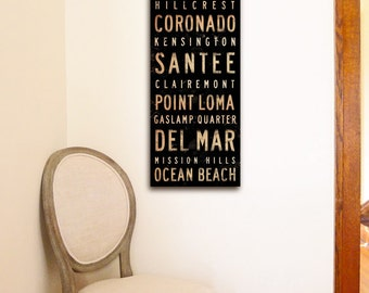 San Diego neighborhoods typography graphic art on gallery wrapped canvas by stephen fowler