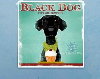Black Dog labrador CUPCAKE COMPANY graphic artwork giclee print by stephen fowler