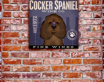 Cocker Spaniel Wine Company original graphic art on gallery wrapped canvas by stephen fowler