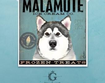 Malamute Ice Cream Company original illustration giclee archival signed print by Stephen Fowler