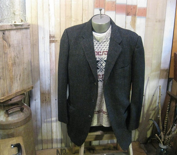 1950s Black  Fleck Tweed  jacket Vintage check plaid wool 50s coat