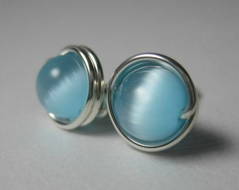 Stud Earrings 6mm Wire Wrapped Sterling Silver and Light Blue Cat's Eye