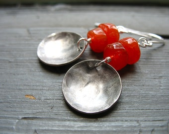 Carnelian Earrings, Handmade Carnelian Gemstone Silver Dome Dangle Drop Earrings, Carnelian Jewelry, Gemstone Jewelry