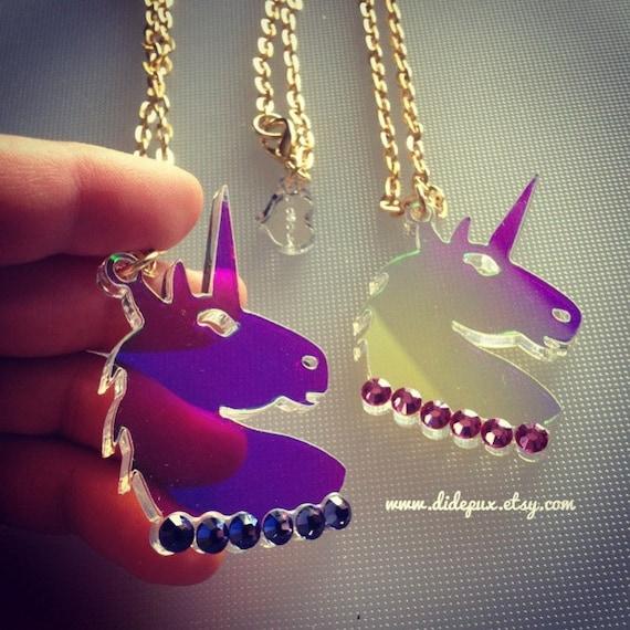 Unicorn Radiant Head Laser Cut Acrylic Necklace