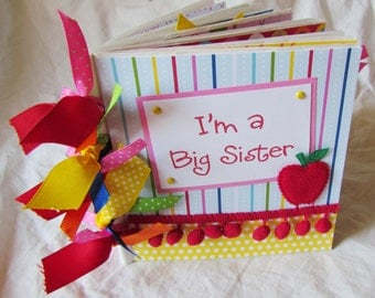 mini scrapbook album  I'M A BIG SISTER  premade PaPeR BaG Scrapbook Album - help new big sister welcome little sibling