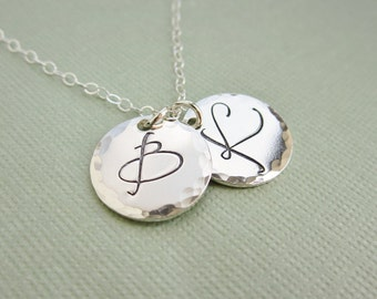 Custom initial charm necklace Hammered sterling silver pendant Silver initial necklace Personalized necklace Letter charm Large fancy font