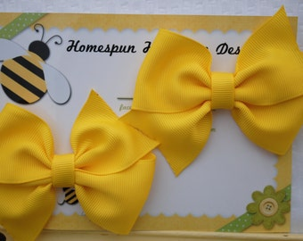 Yellow Hair Bow Set - Twin Girl Clips - Pigtail Bow Set - Two Spring Hairbows - Matching Hair Bow - Pinwheel Hairbow Set - Summer Hair Clips