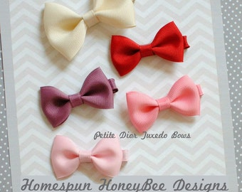 Bows for Baby Girls - Baby Bows - Sweet SET of FIVE - Trendy Hair Bows for Girls - Whispy Bang Clips - High Bun Topper - 3 Inch BowTie Clips