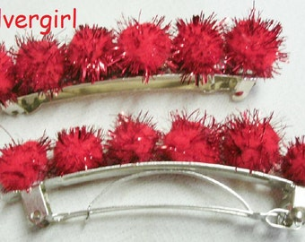 Fun Red Sparkly Ball Spring Hair Clip 2 Available