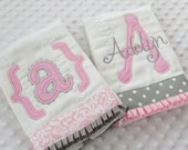 Baby Gift Set of Appliqued BuRP CLoTHs with initial AND personalized embroidery with baby girl's name - Pink and Gray -