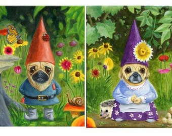 Pug art print, Mr. and Mrs. Pug Gnome SET -  Print from oil painting