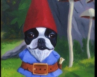 Gnome - Boston Terrier dog art magnet