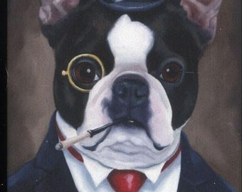 Boston Terrier Gentleman dog art magnet