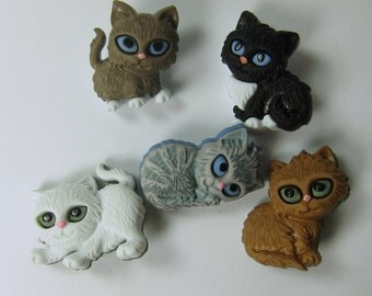 Assorted Kitten Cat Novelty Buttons