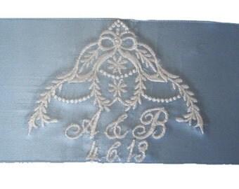 Brittany Bridal Blue Satin Ribbon Wedding Gown Label