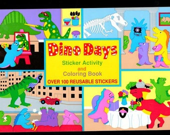Vintage Sandylion DINO DAYS Sticker Album Activity Book Coloring Book New Collectible Scrapbook