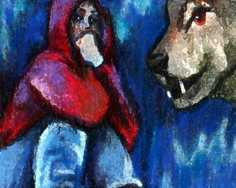 original  art aceo card drawing little red riding hood and the wolf