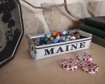Maine License Plate Box - Rustic Treasure Tray - Storage Box - Planter - Free Shipping - Upcycled Gift Box