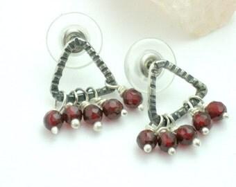 Triangle Stud Earrings, Red Agate Earrings,Stud Earrings,Gemstone Earrings,Gemstone Studs,Triangle Post Earrings,Agate Studs,Women's Jewelry