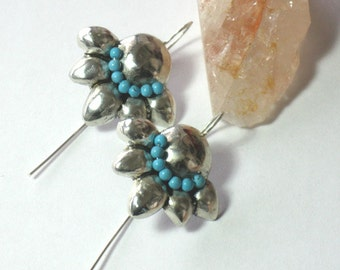 Turquoise Gemstone Bead Earrings, Sterling Turquoise Dangles, Turquoise silver dangle flowers, Hammered Silver Stone Earrings,