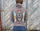 Hold for Becki - SALE - Sweatshirt - Zipper Hoodie -The Wolf