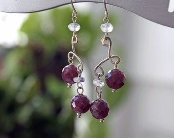Moonstone and Ruby Sterling Silver Earrings, Ruby Birthstone Handmade Dangle Earrings, Red and White Artisan Earrinsg