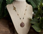 Soapstone Sun and Moon Lariat with Swarovski Crystals and Gold Vermeil