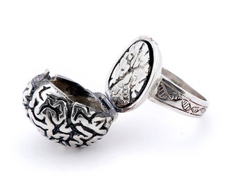 Silver Anatomical Brain Poison Ring
