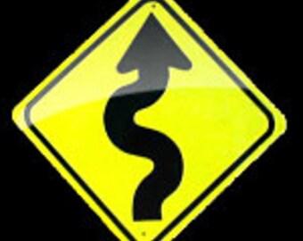 Aluminum Curves Ahead Mini Traffic Sign.        Free Shipping