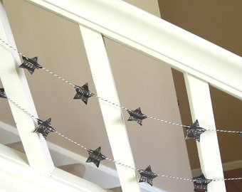 Black and White Music Sheet Star Garland/Banner - 2 yards - Home Decor