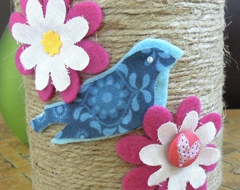 Blue Robin and Pink Flowers Decorative Tin - Home Decor/Centerpiece