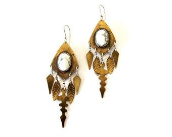 White howlite talisman earrings