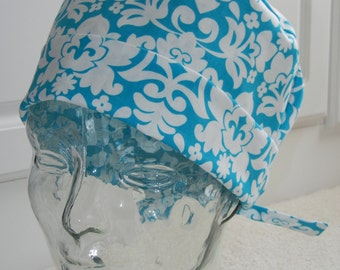 Tie Back Surgical Scrub Hat in Turquoise Damask