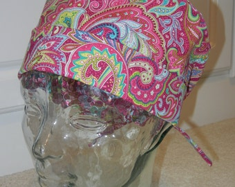 Tie Back Surgical Scrub Hat with Berry Pretty Paisley