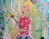 Mixed Media Angel Fairy Princess Painting on Wood Girl Star Fairy Tale Valentine Original Art