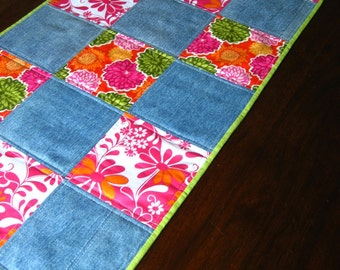 Quilted table runner with vintage denim and bright floral prints, 17 x 44