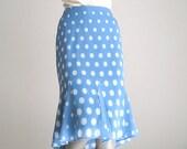 Light Blue Skirt, Periwinkle Skirt, Vintage Skirt, Tulipe Skirt,  Retro Liz Clairborne, Petite 10 Skirt.