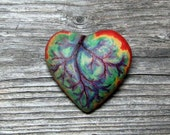 Tie Dye Heart - Equality and Tolerance - Wooden Rainbow Heart Brooch - Pin by Tanja Sova