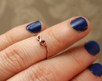 Infinity Midi Ring - Copper Above the Knuckle Ring - Eternity Symbol