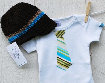 BABY BOY GIFT Set......  Happy Stripes  Necktie appliqué on brown or white baby bodysuits......... Great baby shower gift