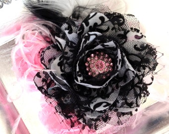 Black Damask and Pink Lace Glamour Bloom Hair Flower headband