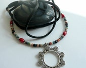ON SALE Rising Sun Karen Hill Tribe Coral Sterling Silver Onyx Columbian Clay Heishe Leather Lace OOAK Necklace