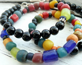 Unisex Multi Colored Ancient Burmese Glass Bead Black Onyx Sterling Silver OOAK Artisan Boho Tribal Primitive Choker Necklace