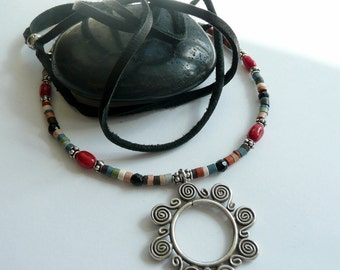 Handcrafted OOAK Karen Hill Tribe Artisan Sun Pendant Coral Sterling Silver Onyx Columbian Clay Heishe Bead Leather Gift for Her Necklace